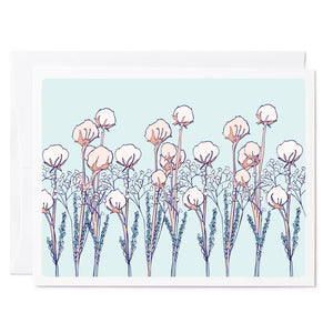 Tuxberry & Whit hand illustrated cotton buds light blue background greeting card.