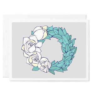 Tuxberry & Whit Illustrated magnolia wreath gray background greeting card.