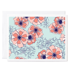 Tuxberry & Whit floral illustrated greeting card with pink anemones and baby's breath.
