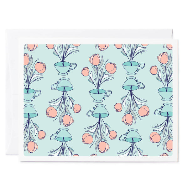 Tuxberry & Whit Light pink Peonies in teacups floral illustrated greeting card with a turquoise background.