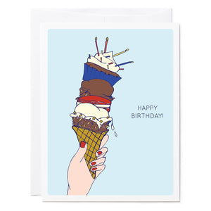 Tuxberry & Whit hand illustrated birthday card of hand holding ice cream cone with cup cakes, macaroons, ice cream, and candles.