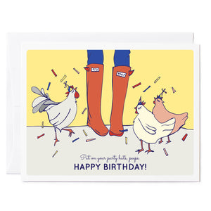 Tuxberry & Whit hand illustrated birthday card rain boots and chickens wearing party hats.