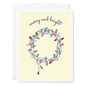 Tuxberry & Whit hand illustrated Holiday card of a wreath made of Christmas lights.