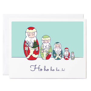 Tuxberry & Whit hand illustrated Holiday card of nesting Santas.
