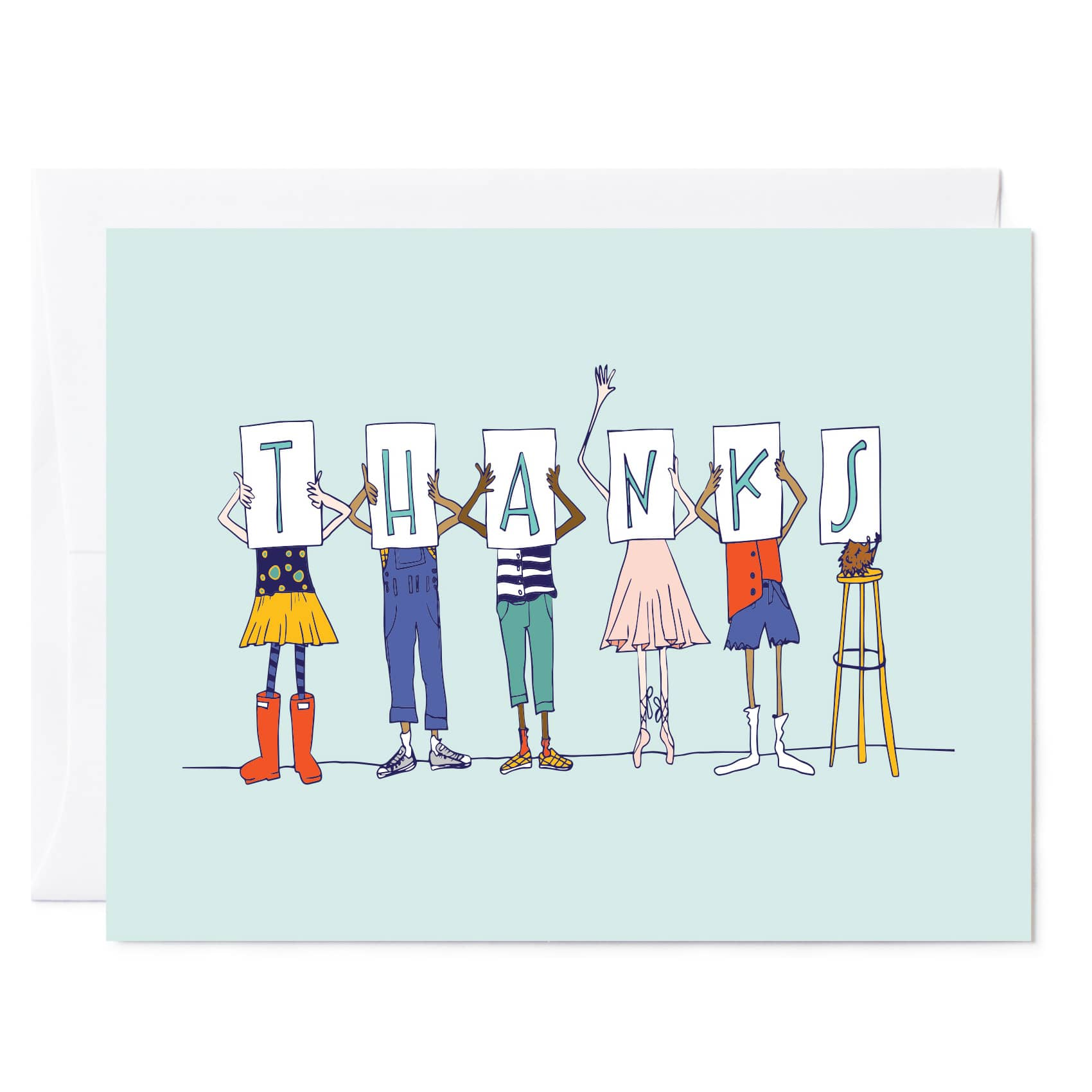 Tuxberry & Whit Illustrated Kids Thank You blue background greeting card available as a single folded card or box set of 8