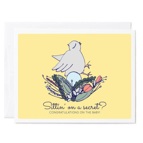 Tuxberry & Whit hand illustrated greeting card Little chick in a flower nest yellow background illustrated greeting card.