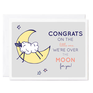 Tuxberry & Whit Hand illustrated greeting card Little lamb jumping over the moon stars and gray background illustrated greeting card.