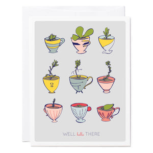 Tuxberry & Whit 12 illustrated teacups with a succulent in each one greeting card.