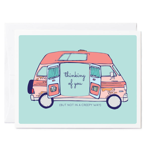Tuxberry & Whit hand illustrated greeting card. thinking of you creepy van