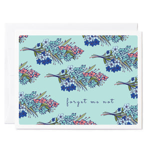 Tuxberry & Whit hand illustrated floral card of forget me nots bouquet.