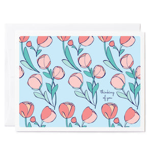 Tuxberry & Whit hand illustrated floral card of peonies that says thinking of you.