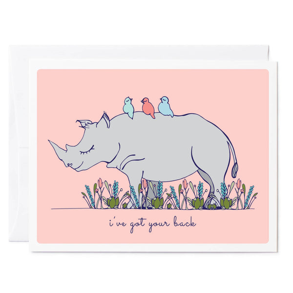 Tuxberry & Whit hand illustrated thinking of you card with a rhino and little birds on his back.