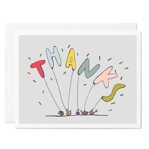 Tuxberry & Whit hand illustrated thank you card with balloons that spell thanks and held down with mini animal paperweights.