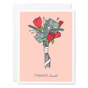 Tuxberry & Whit hand illustrated thank you card with a bunch of flowers that says thanks a bunch.