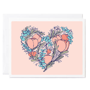 Tuxberry & Whit hand illustrated wedding card of a floral heart with a pink background.