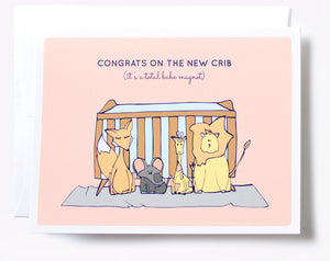 Cute stuffed zoo animals in front of crib illustrated baby greeting card.