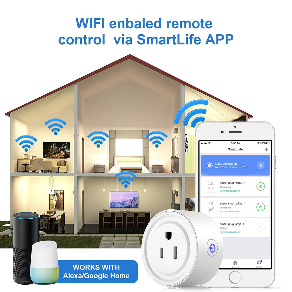 Smart Plug 1 Pack Wi-Fi Enabled Works with Amazon Alexa Google Home ...