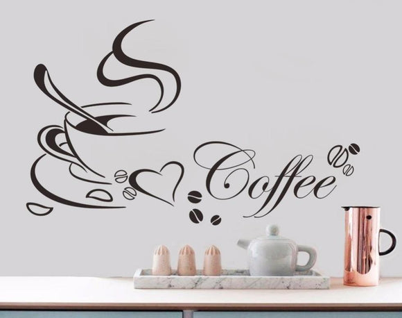 Coffee Cup with Heart - Wall Sticker