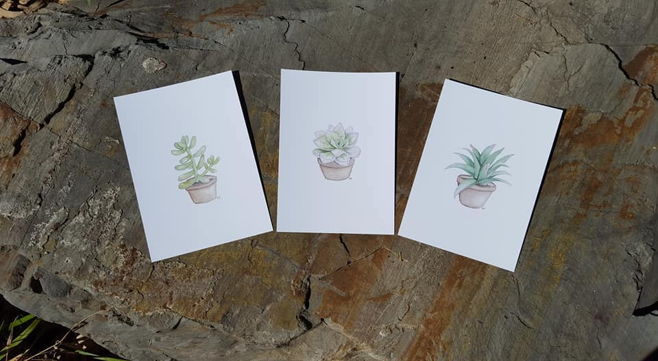 Trio of Succulents - A5 Prints