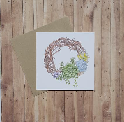 Succulent Wreath - Card