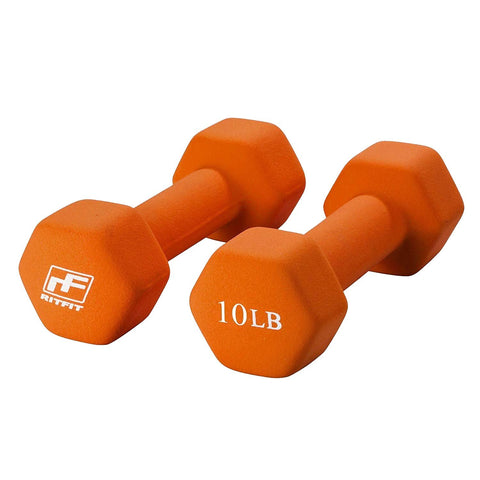 Neoprene Dumbbells (Set of Two) | Non Slip Grip Free Weights | RitFit Fitness RitFit 10LB-Orange