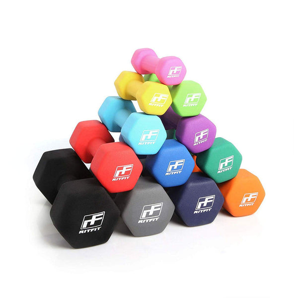Neoprene Dumbbells (Set of Two) | Non Slip Grip Free Weights | RitFit Fitness RitFit