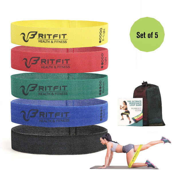 Resistance Fabric Loop Bands Set for Hip Exercise Booty & Glutes Workout | RitFit Fitness RitFit 5 Pieces