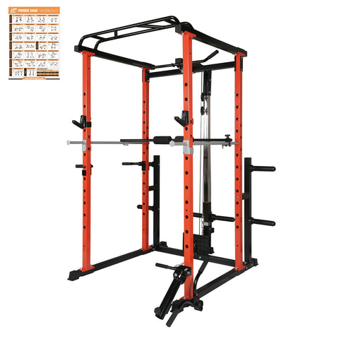 RitFit 1000LB Capacity Power Cage, Rack | With Safety Bar, Plate Holder, Landmine, J-Hooks and Dip Bars RitFit