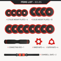 82 lb adjustable dumbbell and barbell