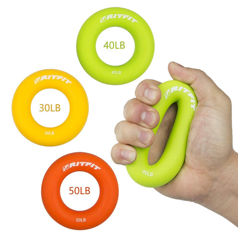 RitFit 3-in-1 Colorful Hand Strengthener Grip Rings|RitFit Fitness RitFit 30-50 Lbs