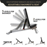 adjustable backrest & seat