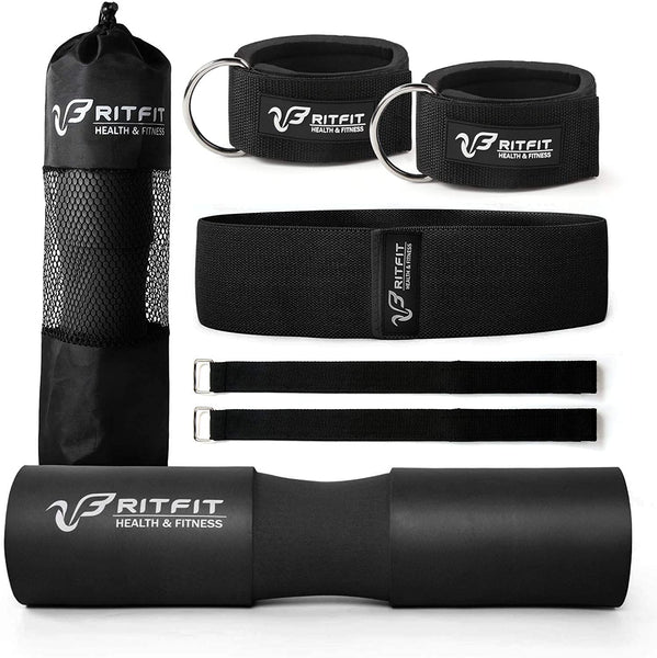 black barbell squat pad