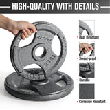 RitFit Cast Iron Olympic Weight Plates | 2'' Center Hole with Tri-grip Design Barbell Plates |2.5-55lbs RitFit