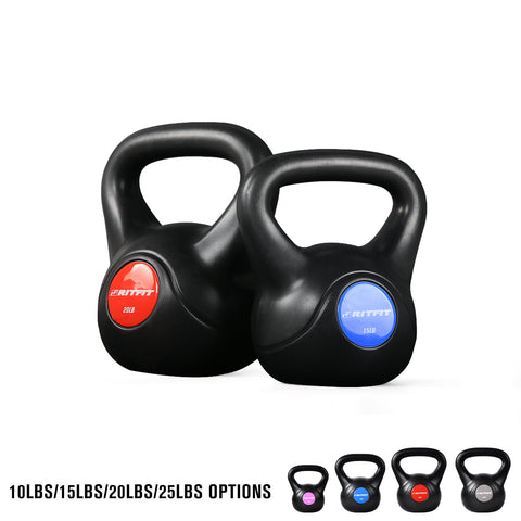 RitFit Kettlebell with Scratch-free Plastic Shell, 10-25lbs | Free Weights for Home Workouts, Cross Training, and Fat Burning RitFit