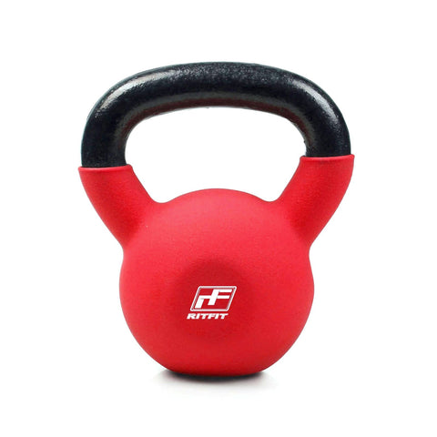 RitFit Vinyl Coated Solid Cast Iron Kettlebell|Home Fitness Equipment|RitFit Fitness RitFit 20 LB (Red)