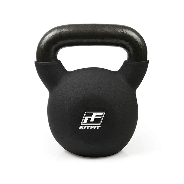 RitFit Vinyl Coated Solid Cast Iron Kettlebell|Home Fitness Equipment|RitFit Fitness RitFit 50 LB (Black)