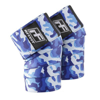 blue camouflage knee wraps