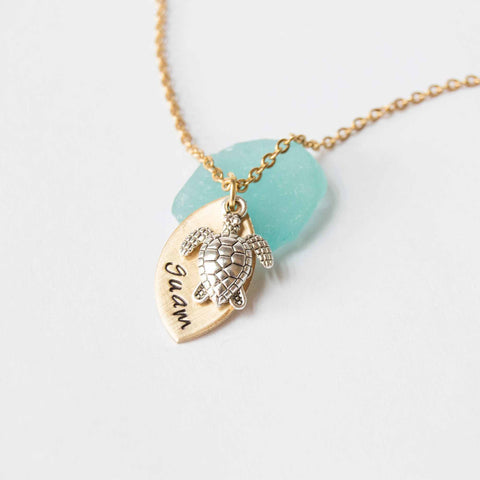 Image of I Love Guam Mermaid/Turtle Necklace - Y7