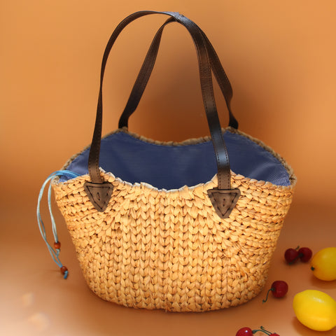 Image of AZ Exclusive Handmade Water Hyacinth Straw Picnic Bag - LTL005