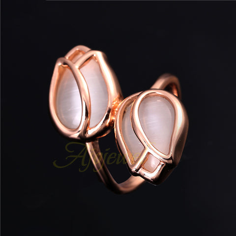 Ring Elegant White Opal Tulip Flower - TR