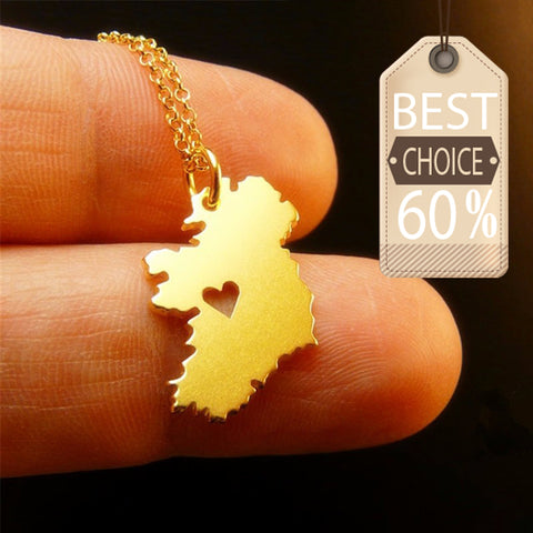 Ireland Map Heart Necklace - M1