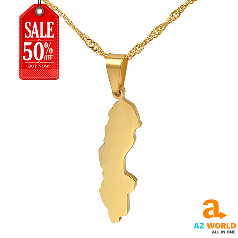 Sweden Map Gold Plated Necklaces - M