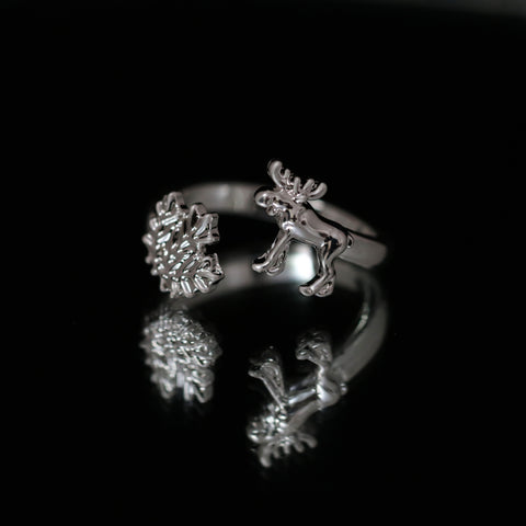 Image of Canada Maple Leaf And Moose Adjustable Rings