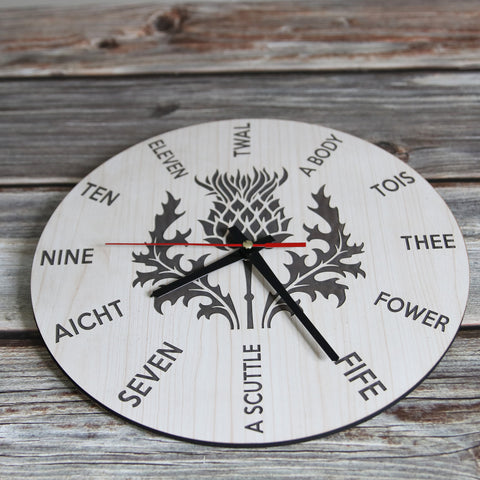 Image of Scottish Thistle Flower Wooden Wall Clock