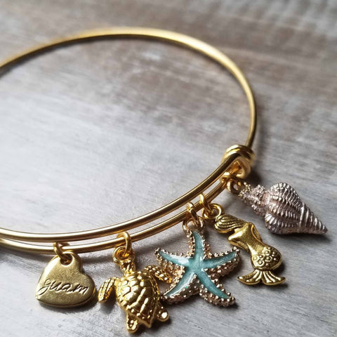 Image of I Love Guam Charm Bracelet in Gold - Y7