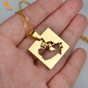 Canada Map Square Gold Plated Necklace
