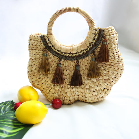 AZ Exclusive Handmade Water Hyacinth Straw Stylized Handbag - LTL007
