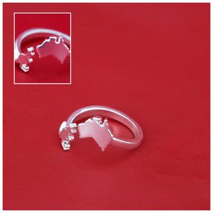 Australia Map And Kangaroo Adjustable Rings