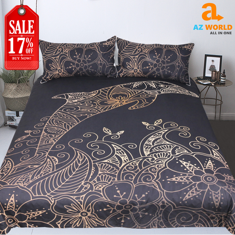 Golden Dolphin Bedding Set
