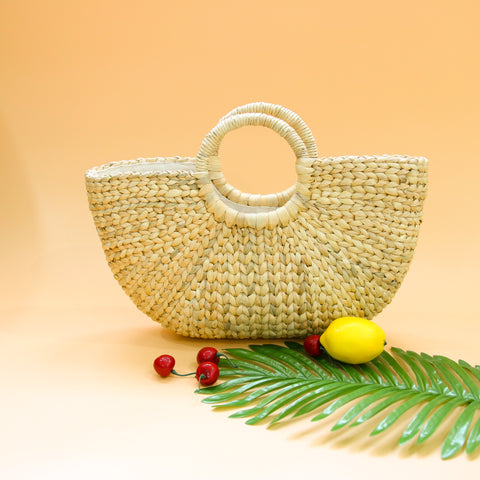 Image of AZ Exclusive Handmade Water Hyacinth Straw Beach Bag - LTL006
